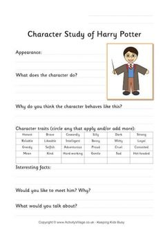 Harry Potter Worksheet