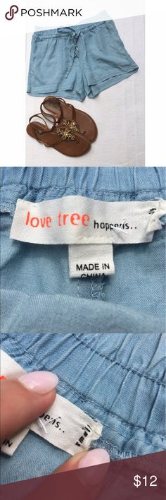 Light Chambray Shorts Love Tree got them and didn't fit:( so never have been worn. very very light weight. would be so cute with sandals or wedges!! super soft with elastic waist band and drawstring love tree Shorts Jean Shorts