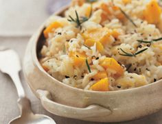 Creamy Butternut Squash Risotto #vegan if you sub or ditch the parmesan cheese