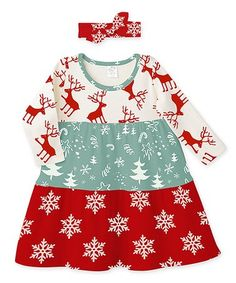 Another great find on #zulily! Red & Green Snowflake Tiered Dress & Headband - Infant #zulilyfinds