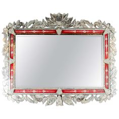 Spectacular Grand Venetian Mirror with Inset Ruby Red Reversed Eglomise Border | 1stdibs.com