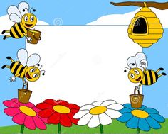 Cartoon Bees Photo Frame Photo frame, post card or page for your scrapbook. Bee Pictures, Cartoon Bee, Bee Photo, School Murals, Hello Kitty Birthday, Kids Scrapbook, Borders And Frames, Preschool Activities, Clip Art