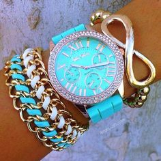 Blue...just the infinity bracelet.  I wish I looked like that!