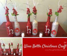 Wine bottle #Christmas craft using Mod Podge and glitter!