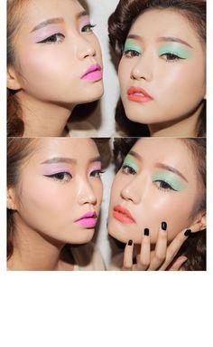Pastel makeup looks! Makeup Trends, Beauty Trends, Makeup Inspo, Makeup Art, Makeup Inspiration, Makeup Tips, Disco Makeup, Rave Makeup, Sexy Makeup