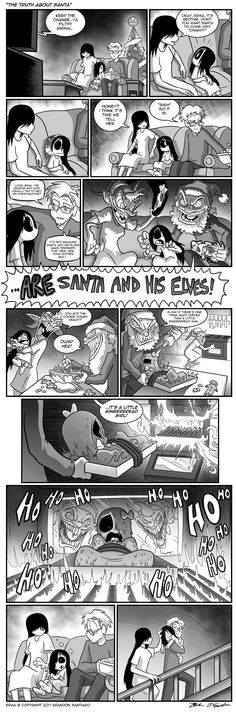 Erma- The Truth About Santa - image Comics Story, Fun Comics, Anime Comics, Erma Comic, Comic 8, Laugh Till You Cry, Dark Jokes, Horror Themes, Funny Comic Strips