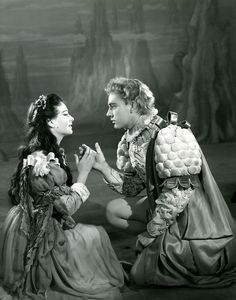 Miranda, played by Hazel Penwarden and Ferdinand played by Richard Burton.  1951.   Photographer Angus McBean, copyright RSC