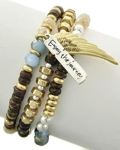 Two-tone / Brown & Multi Color / Glass Crystal & Wood / Lead Compliant / 3pcs Stackable / Angel / Wing & Message Charm / Stretch Bracelet