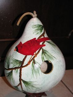 Painted Gourd Birdhouse  Handpainted  Cardinal by gourdartistIam, $29.95