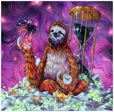 "Sloth Art Print - Sloth Artwork - ""Time Master Poop Sloth"" by Black Ink Art"