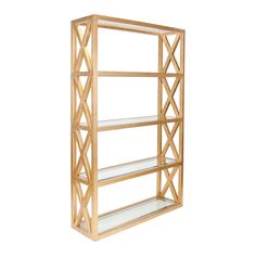 CLIFTON G - Gold Leaf Crosshatch etagere with clear glass shelves.