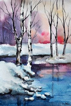 ORIGINAL Watercolor Painting, Winter Lake Sunset Landscape 5x7 inch