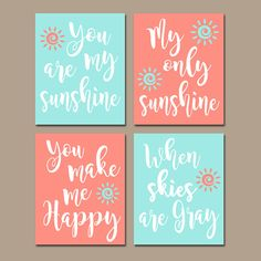 CORAL AQUA You Are My Sunshine Wall Art CANVAS or Prints Baby