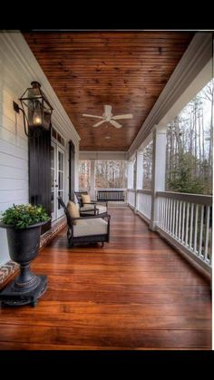 stain porch, paint beams white- ceiling fan