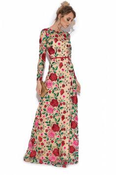 rochie lunga imprimeu floral - rochii de seara lungi