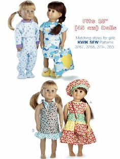 """18"""" Doll Clothes Kwik Sew Pattern #3771 - only $9.19!  http://lisasstitchingpost.com/product_info.php?cPath=129_131_73_101&products_id=415"""