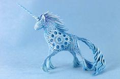 Blue steampunk unicorn by hontor.deviantart.com on @deviantART