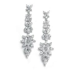 Sparkle and Shine. Bridal Bridal Wedding Earrings with Cubic Zirconia Marquis Cluster