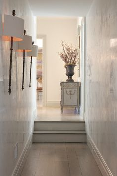 The upper hallway walls, as the rest of the home, were finished in a waxy white venetian plaster, giving life and texture to the space. Grey Interior Design, Interior And Exterior, Interior Walls, Hallway Walls, Hallways, Venetian Plaster Walls, Polished Plaster, Tadelakt, Wall Finishes