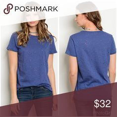 AVAILABLE Indigo distressed scoop neck tee! 3 LEFT Oversized indigo 100% cotton t shirt- adorable distressed oversized style - bust for small is 36 inches Tops Tees - Short Sleeve