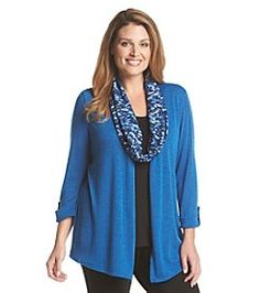 ae71a2d630c Notations® Plus Size Solid Scarf Cardigan