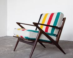Hudson Bay Blankets for the cushions on a vintage Poul Jensen for Selig Z chair frame.