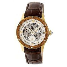 333616a1c43 Other Wholesale Wristwatches 40133  Empress Victoria Automatic Wood Bezel  Skeleton Dial Leather-Band