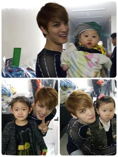 Kim Suk Jin shares photos of Jaejoong with his nieces & nephew (150328)