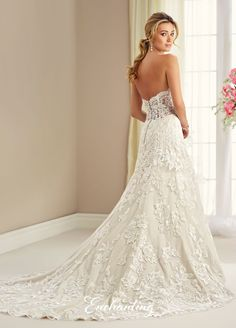 mon cheri bridals 217118 - Strapless tulle, lace appliqué, and satin slim A-line gown with scalloped sweetheart neckline, hand-beaded bodice, illusion lace back with crystal buttons, chapel length train. Removable straps included.