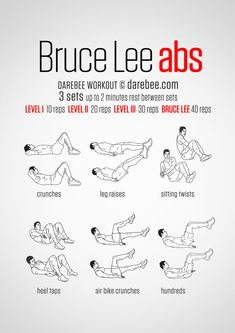 Do you want to know Bruce Lee abs workout? Discover what types of core exercises he did and find sample workout routines. Darbee Workout, Sixpack Workout, Abs Workout Video, Best Ab Workout, Abs Workout Routines, Abs Workout For Women, Ab Workout At Home, Workout Challenge, Ab Routine