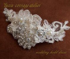 ヘッドドレス♡félicitationsフェリシタシオン♡ウエディング・ボンネ Wedding Accessories, Hair Accessories, Hair Comb, Corsage, Headdress, Vows, Bridal, Beads, Wedding Dresses