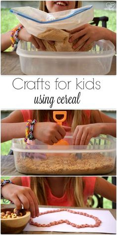 Fun crafts for kids using cereal!! Easy activities and crafts for toddlers that are edible and inexpensive to do at home.  AD