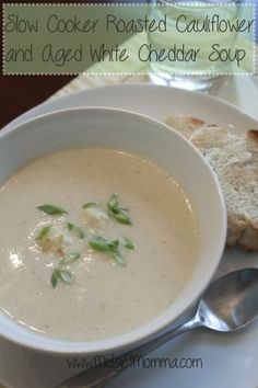 Slow Cooker Roasted Cauliflower and Aged White Cheddar Soup!