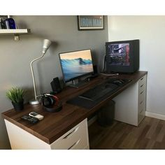 IKEA Karlby countertop in walnut color resting on two IKEA ALEX drawer units PC Builds and Setups (@pcgaminghub)