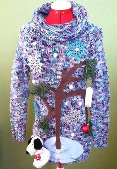 Vtg Ohi Euc Beaded Ugly Christmas Sweater Party Winner Busy Snowmen