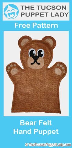 Cute bear felt hand puppet pattern available for free.