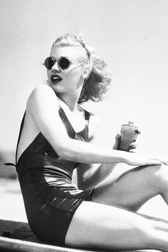 Ginger Rogers at the beach, 1936.