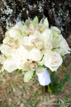 wedding bouquet, wedding bouquet with white roses and orchids
