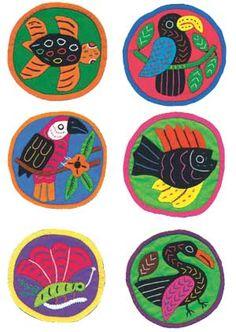 Molas. Costura artesanal de los indígenas cunas (Panamá). Con enlace a tutorial.