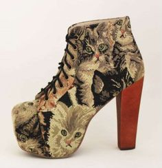 The Jeffrey Campbell Lita Cat Tapestry Shoes Are Hilarious Heels #design #creativity trendhunter.com