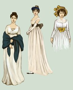 """1800 .:2:. by Tadarida.deviantart.com on @deviantART - From the artist's comments: """"Dresses have high waistline, falling loosely below. Inspired by neoclassical taste, they are made of white, almost transparent muslin, with no decoration. Hairstyles are inspired by ancient Greeks and Romans, """"antique"""" headdresses are worn. After centuries of corsets and full skirts, these fashions were quite scandalous. Many were shocked by women going out in their """"nightgowns""""."""""""