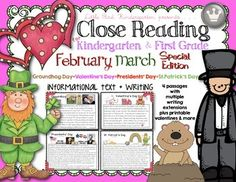 Kid and Teacher favorite!! Close Reading For Kindergarten & First Grade: February March Special Edition LOTS of writing extensions and explicit directions for close reading - even with kindergarten!