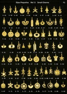 (Columbia) Gold Pendants in Pre-Columbian designs, from Colombia. Tribal Jewelry, Gold Jewelry, Beaded Jewelry, Jewelery, Ancient Jewelry, Antique Jewelry, Colombian Gold, Ideas Joyería, Stone Jewelry