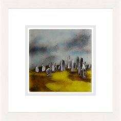 'Standing Stones' by Edel Taggart. This piece has been hand crafted, fused & framed by Spires Art in Omagh. Available in size 24in X 24in.