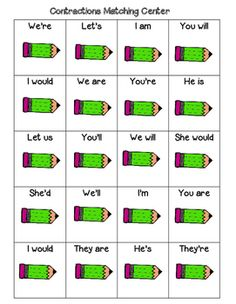 Valentine Contractions Worksheet  Worksheets Students and