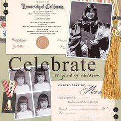 Graduation Scrapbook Layout Ideas: Compare Then and Now