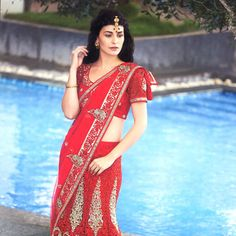 Red Net Lehenga Style Saree with Blouse Lehenga Style Saree, Net Lehenga, Bridal Lehenga, Red Saree, Saree Collection, Bridal Collection, Bridal Sarees Online, Indian Bridal Wear, Blouse Online