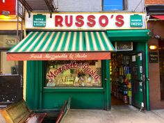 Old-school sign for Russo's, still making mozzarella after 110 years on East Street in the East Village's mini Italian immigrant enclave. Italian Cafe, Vintage Italian, Cafe Signage, Pizza Branding, Minimal House Design, Building Front, Shops, Vintage New York, Shop Fronts