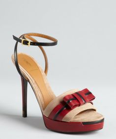 Fendi red leather and beige suede bow open toe ankle strap platform sandals