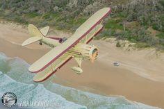 Waco Bi-Plane on a Fighter Pilot Sunshine Coast Australia adventure flight. Photography by Mark Greenmantle. Adventure Company, Coast Australia, Fighter Pilot, Sunshine Coast, Surfboard, Plane, Aircraft, Photography, Pilots